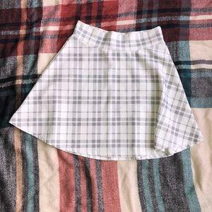 Gray & White Plaid Skater Skirt